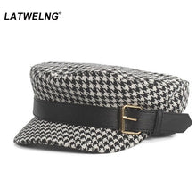 Load image into Gallery viewer, Women Vintage Hat Autumn Winter Fashion Plaid Octagonal Hats,Ladies Newsboy Caps PU Belt Visor Cap,Black French Hat