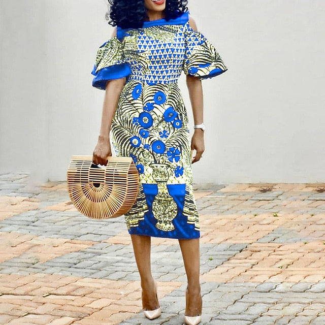 african women vintage printed blue dress summer cold shoulder bodycon evening party office ladies dresses pencil midi elegant