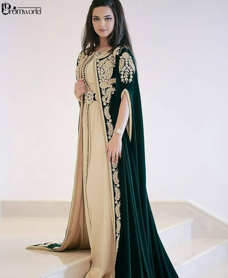 Dark Green Moroccan Caftans Evening Dresses Embroidery Appliques Elegant Long Formal Dress Dubai Arabic elbise abiye Party Dress