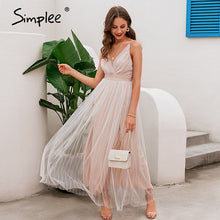 Load image into Gallery viewer, Simplee Mesh white lace women dress Elegant v neck evening maxi christmas dress Summer sexy long party dress vestido festa 2020