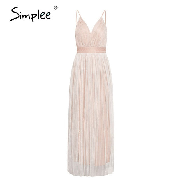 Simplee Mesh white lace women dress Elegant v neck evening maxi christmas dress Summer sexy long party dress vestido festa 2020