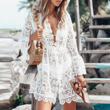 Load image into Gallery viewer, Elsvios Summer Women V-Neck Sundress Sexy Off Shoulder Short Sleeve Dress Elegant Femme Floral Print Long Beach Dresses