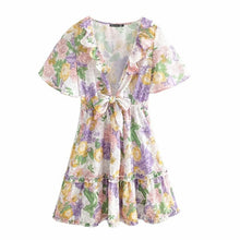 Load image into Gallery viewer, Women Summer Minidress with V-neck Ruffle Sleeve Floral Print Bohemian Dress