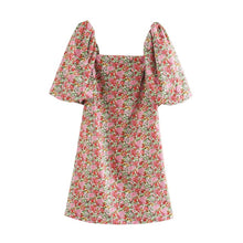 Load image into Gallery viewer, ANZA Women French Style Minidress With Slash Neck Floral Print Short Sleeve Minidress Femme Robe Pink Dress