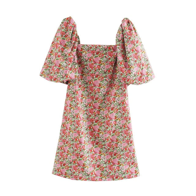 ANZA Women French Style Minidress With Slash Neck Floral Print Short Sleeve Minidress Femme Robe Pink Dress