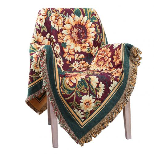 Fashion Flower Design Soft Comfortable Thick Cotton Blanket Travel Plane Tassel Decor Tapestry Multipurpose Sofa Chair Cover