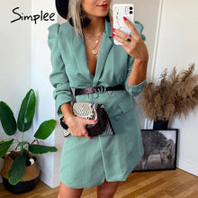 Load image into Gallery viewer, Simplee button blazer straight Puff sleeve casual high waist belt elegant green dress