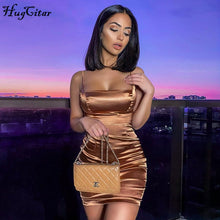 Load image into Gallery viewer, Hugcitar sleeveless satin bodycon mini dress fashion streetwear sundress