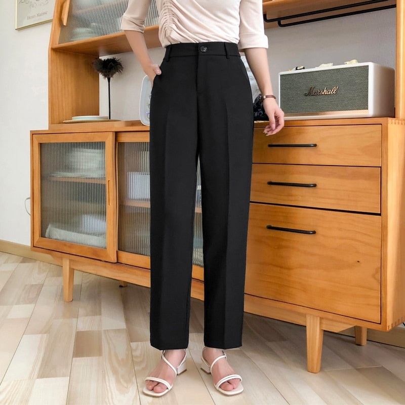 Formal Black Pants Women Office Lady Style Work Wear Summer Thin High Quality Trousers Chiffon Pant Female Business Design S-4XL