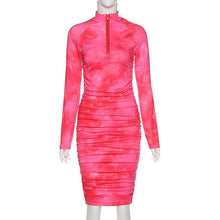 Load image into Gallery viewer, Simenual Tie Dye Print Fashion Long Sleeve Bodycon Ruched Clubwear Dress