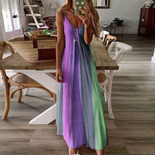 Load image into Gallery viewer, Women O-Neck Midi Dress Summer Beach Sundress Printed Sleeveless Casual Daliy Boho Long Maxi Dress