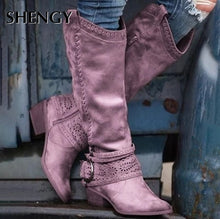Load image into Gallery viewer, Retro Women Zipper Tall Tube Style Office Ladies Causal Pattern Hollow Out Boots