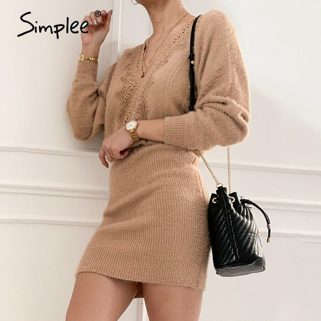 Simplee khaki knitted backless V-neck lace up bodycon Office street dress