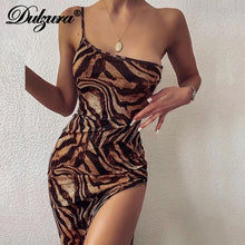 Load image into Gallery viewer, Dulzura tiger animal print women maxi one shoulder high slit bodycon party streetwear