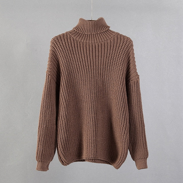 Hirsionsan Turtle Neck Sweater Women Elegant Solid Cashmere Sweater Oversized Thick Warm Female Pullovers Tops