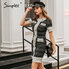 Load image into Gallery viewer, Simplee Commute o-neck button women dress Long sleeve plaid stitching female tight dress High street style ladies mini dress