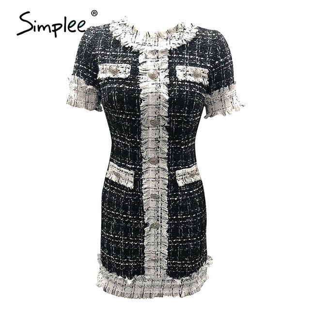 Simplee Commute o-neck button women dress Long sleeve plaid stitching female tight dress High street style ladies mini dress