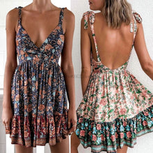 Load image into Gallery viewer, Women Boho Backless Skater  V Neck High Waist Party Beach Dress