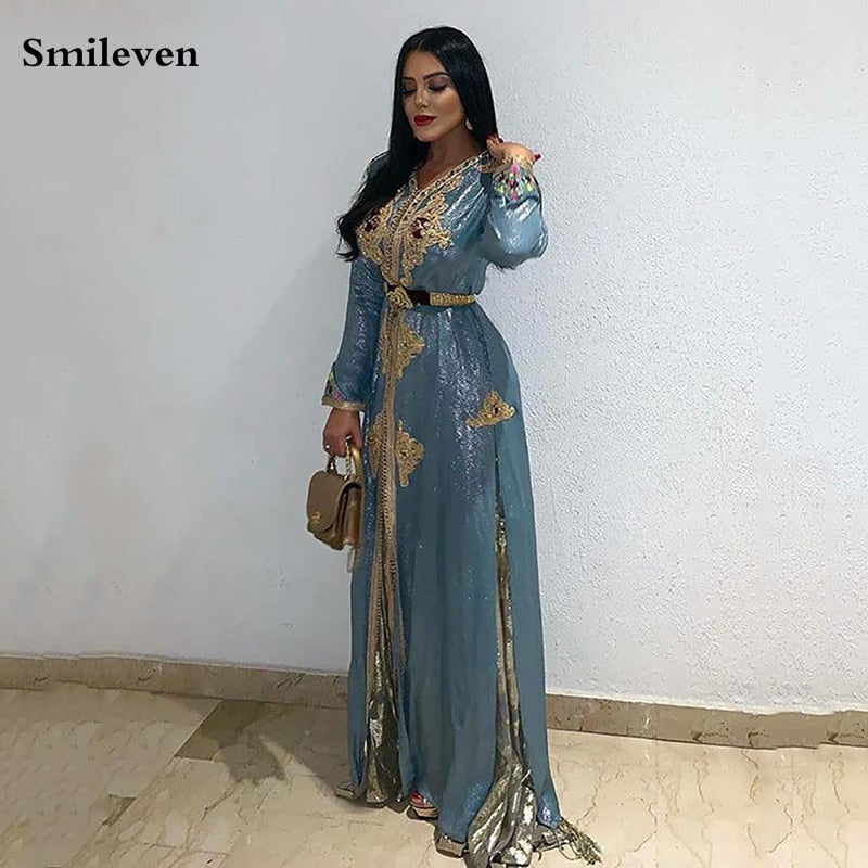 Smileven Dirty Blue Moroccan Kaftan Lace Formal Evening Dress Long Sleeve Muslim Party Dress Long Dubai Special Occasion Dresses
