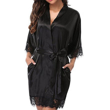 Load image into Gallery viewer, Women's Satin Silk Woman Lace Robe Female Lace Bathrobe Womens Robes Sleepwear Ladies Sexy Robe For Women