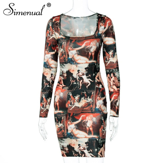 Simenual Aesthetics Print Sexy Women Mini Dress Long Sleeve Fashion Party Clubwear Skinny Square Collar Bodycon Dresses Hot Slim