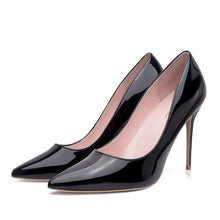 Load image into Gallery viewer, GENSHUO Women Pumps Brand High Heels Black Patent Leather Pointed Toe Sexy Stiletto Shoes Woman Ladies Plus Big Size 11 12