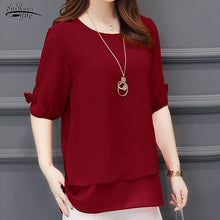 Load image into Gallery viewer, Summer Short Sleeve Blouse Women Casual Plus Size L-5XL Chiffon Shirts for Women Red Blouse and Top