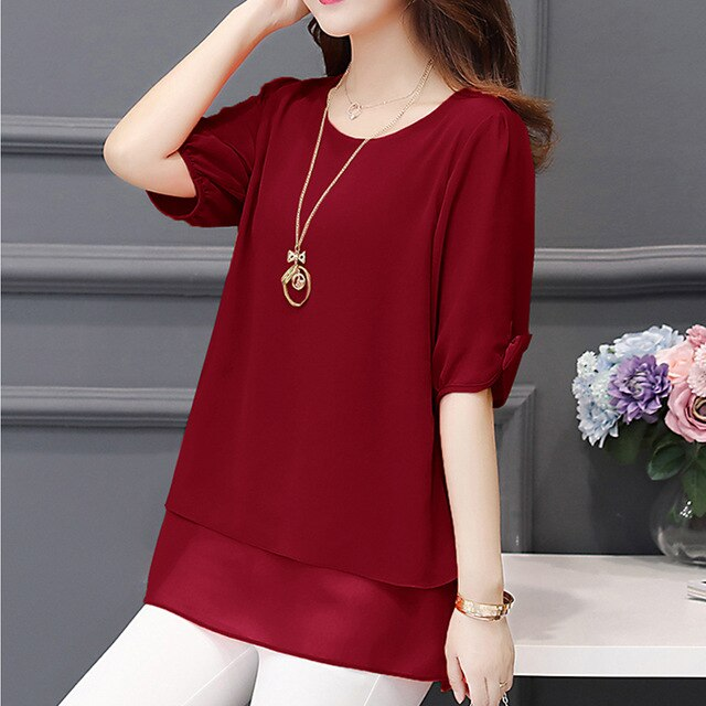 Summer Short Sleeve Blouse Women Casual Plus Size L-5XL Chiffon Shirts for Women Red Blouse and Top