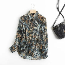 Load image into Gallery viewer, Withered style office lady fashion elegant printing casual blouse women shirt tops