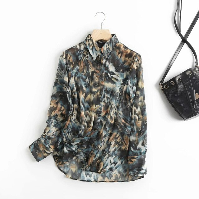 Withered style office lady fashion elegant printing casual blouse women shirt tops