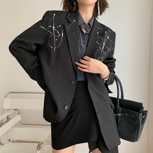 Fashion Blazer Long Sleeve Niche Splash-ink Printed Casual Black French Suit Jacket