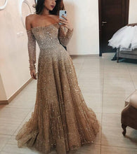 Load image into Gallery viewer, Lugentolo Party Dress Women Lace Sequins Long Sleeves Empire Off The Shoulder Sexy Fashion Floor-Length Womens Dresses