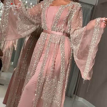 Load image into Gallery viewer, Gold Stamp Long Pink Gown Dress Shawl Party Gown Evening Dress Long Silver Shawl Evening Dress Coat