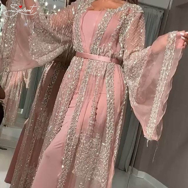 Gold Stamp Long Pink Gown Dress Shawl Party Gown Evening Dress Long Silver Shawl Evening Dress Coat