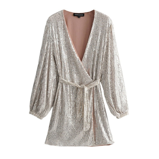 Aachoae Women Sequin Party Lantern Long Sleeve Silver Club Holiday Dress