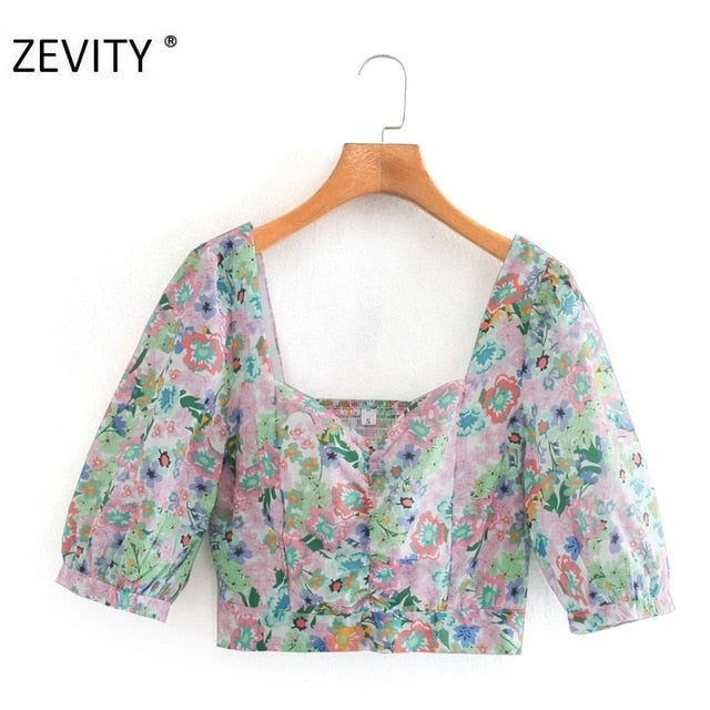 ZEVITY French women pleats v neck puff sleeve print short shirt female back elastic chemise top