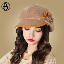 Load image into Gallery viewer, FS Winter Flower Wool Beret Women French Hat Blue Orange Ladies Newsboy Cap Hats Tweed Gatsby Berets