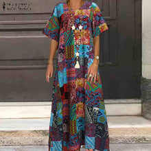 Load image into Gallery viewer, ZANZEA Vintage Printed Maxi Casual Short Sleeve