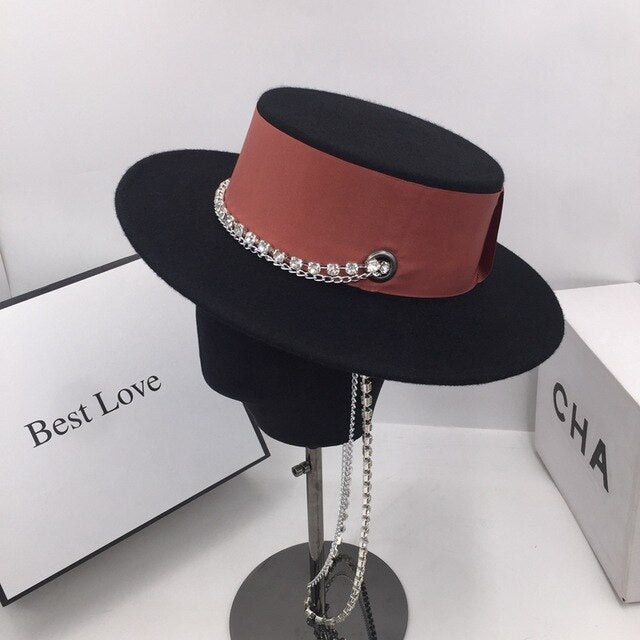 Fedora About the spring and autumn period and the new wool hat  light British luxury fashion chain French elegant aristocratic