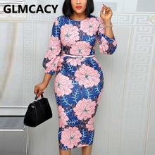 Load image into Gallery viewer, Women Long Sleeve O Neck Dress Floral Printed Bodycon Midi Dress Elegant Office Ladies Chic Work Dress
