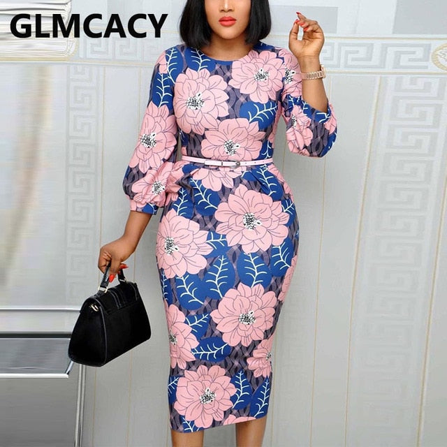 Women Long Sleeve O Neck Dress Floral Printed Bodycon Midi Dress Elegant Office Ladies Chic Work Dress