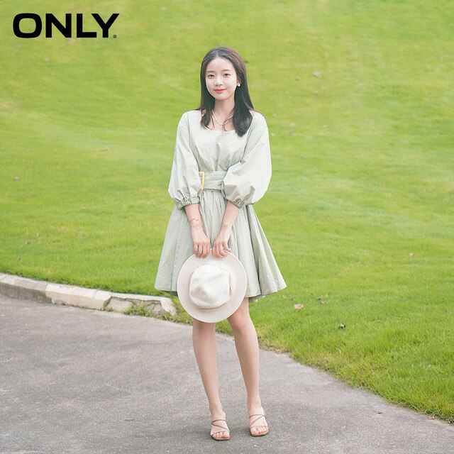 ONLY Summer French Retro U-shaped Fashion A-line dress