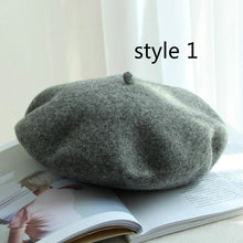 Load image into Gallery viewer, Winter solid color 100% real wool beret hat warm travel French elegant beret Vintage walking painter cap