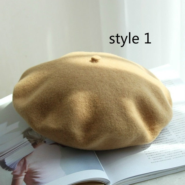 Winter solid color 100% real wool beret hat warm travel French elegant beret Vintage walking painter cap