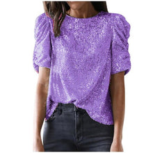 Load image into Gallery viewer, Trendy Ladies T-shirts  Elastic Solid Sequined T-shirts Top Short Sleeve Women Party Puff Sleeve Shirts