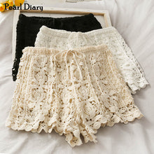Load image into Gallery viewer, Pearl Diary Women Knitted Crochet Lace Short High Rise Drawstring Waistband Hot Short Korean Style  Floral Lace Sweet Shorts