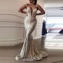 Load image into Gallery viewer, Evening Party Dress Women Sexy Sequins Deep V Neck Sleeveless Spaghetti Strap Back Hollow Long Dresses Elegant Maxi Dress