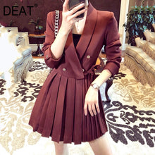 Load image into Gallery viewer, DEAT French double-breasted suit dress women's autumn mid-length professional pleasted suit dress office lady styles YJ909