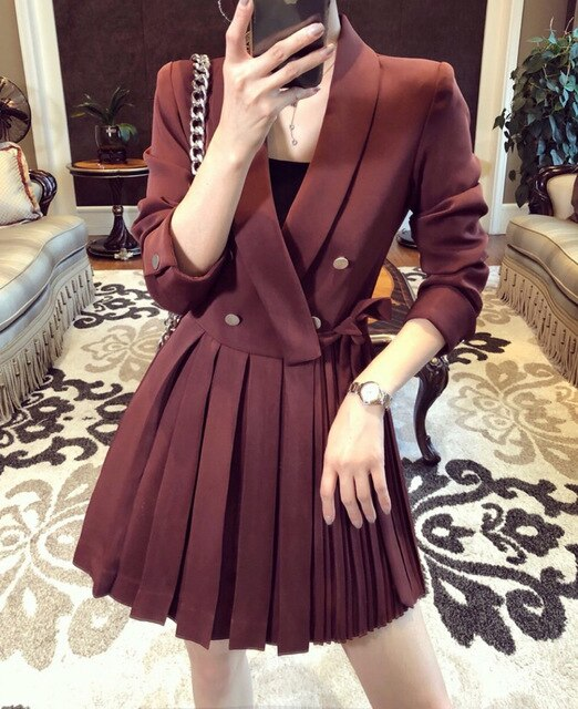 DEAT French double-breasted suit dress women's autumn mid-length professional pleasted suit dress office lady styles YJ909