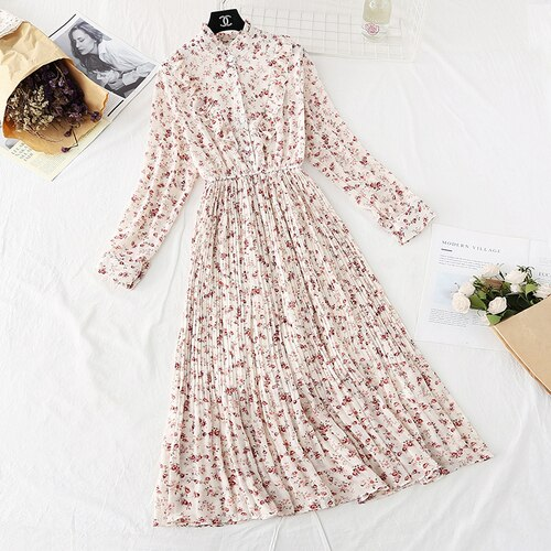 Spring and Autumn Style Floral-Print Chiffon Dress Women's French Vintage Base Dress Fairy Immortal Dress